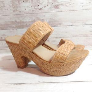 Stuart Weitzman rafia heeled sandals